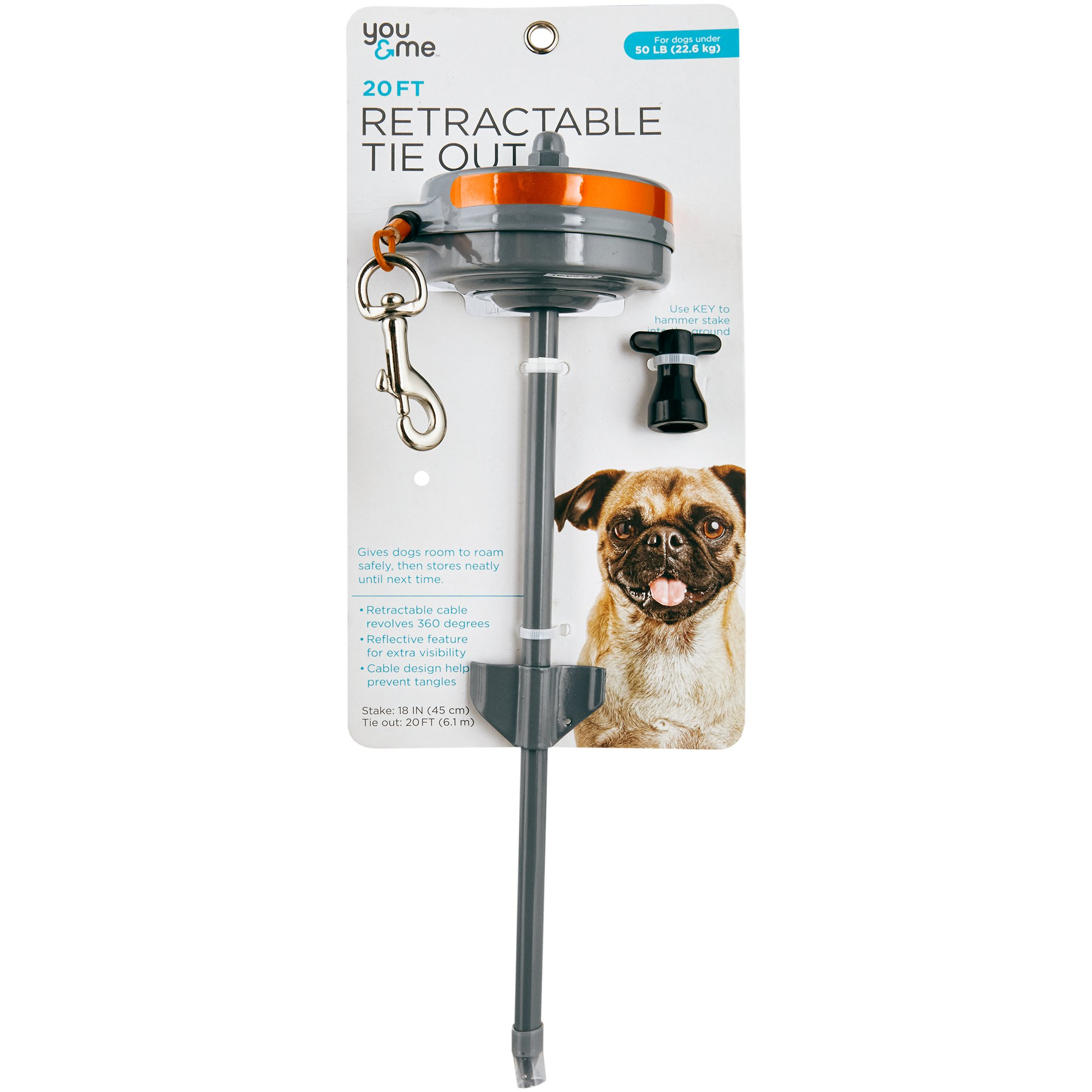 You & Me Medium Retractable Tie Out, 20' L, For Dogs Up To 50 Lbs