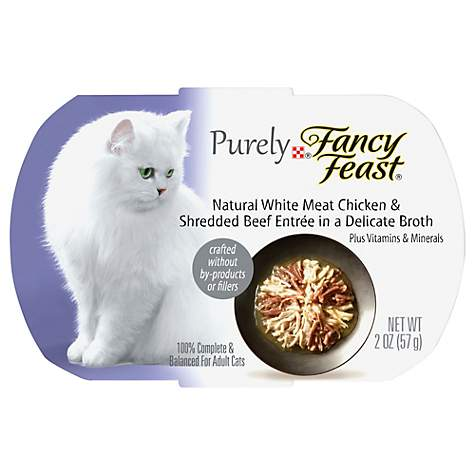 Purina Fancy Feast Purely Chicken & Beef Adult Wet Cat Food Trays