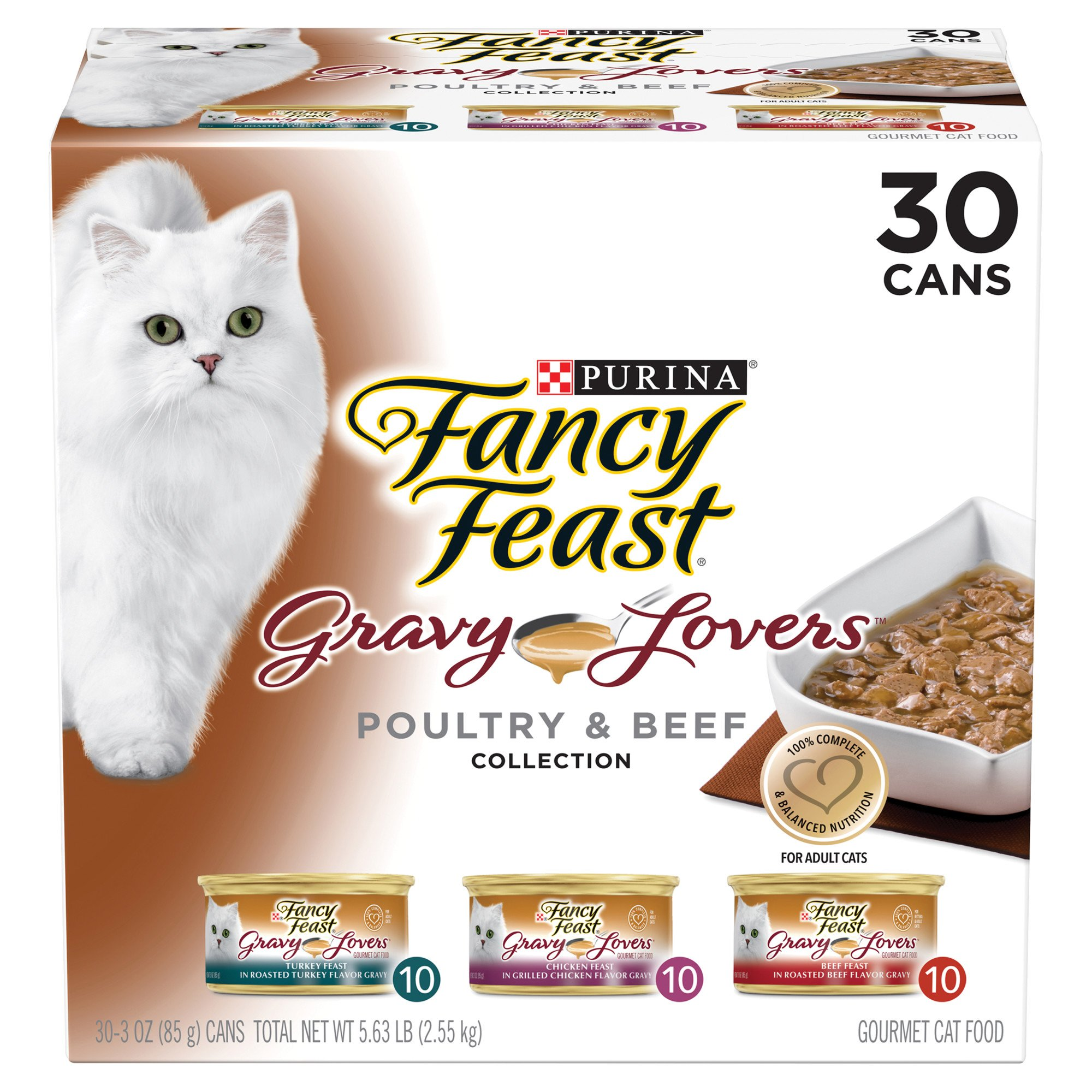 Purina Fancy Feast Gravy Lovers Poultry & Beef Feast Collection Wet Cat Food Variety Pack, 3 oz., Count of 30