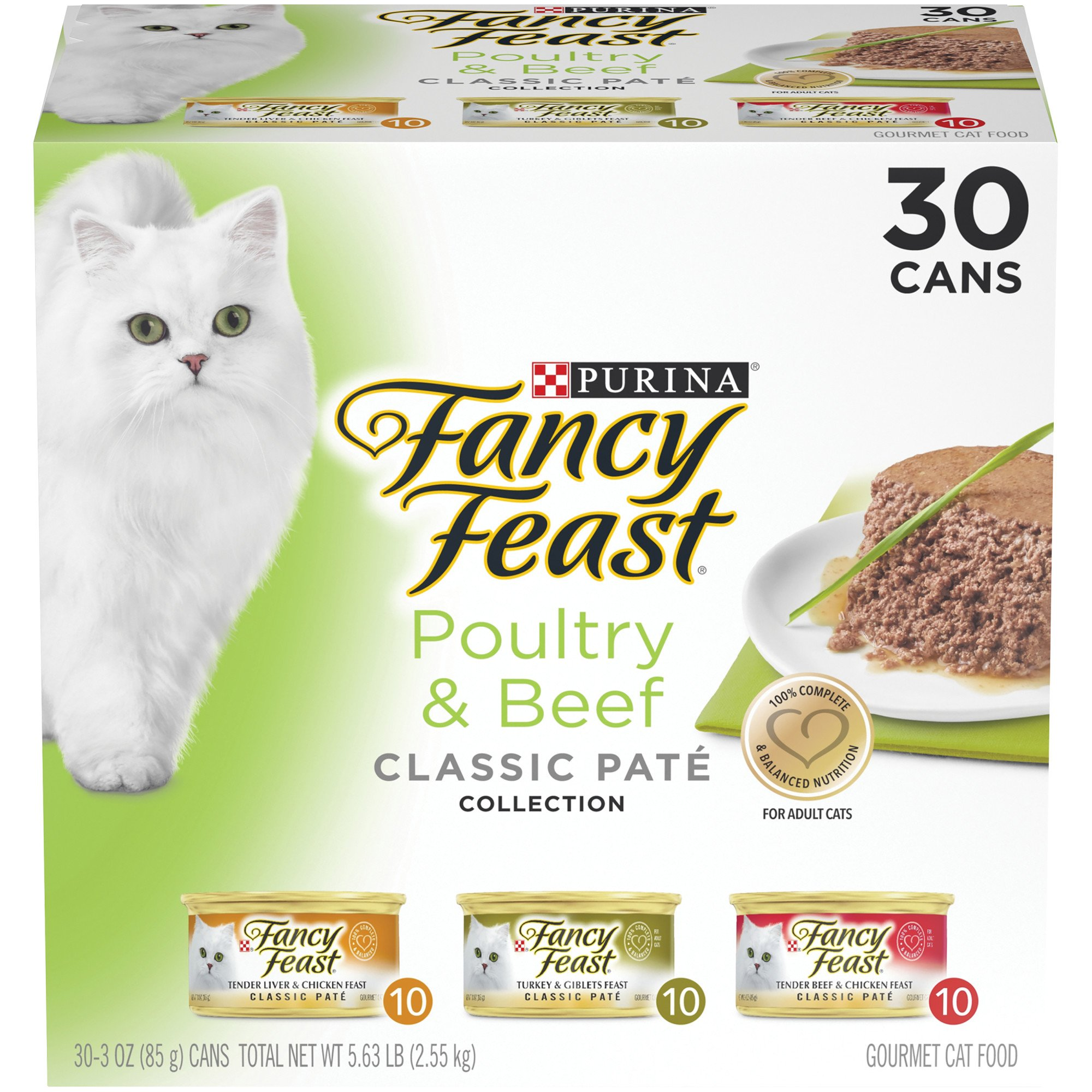 Purina Fancy Feast Classic Pate Poultry & Beef Collection Wet Cat Food Variety Pack, 3 oz., Count of 30