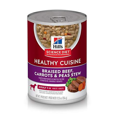 Hills Science Diet Adult Healthy Cuisine Braised Beef, Carrots & Peas Stew Canned Dog Food