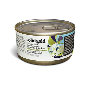 Solid Gold Evening Tide Holistic Grain Free Wet Cat Food Classic Pate, Tuna and Sardine Recipe