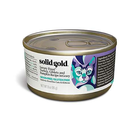 Solid Gold Savory Feast Holistic Grain Free Wet Cat Food, Turkey, Giblets and Pumpkin Recipe in Gravy
