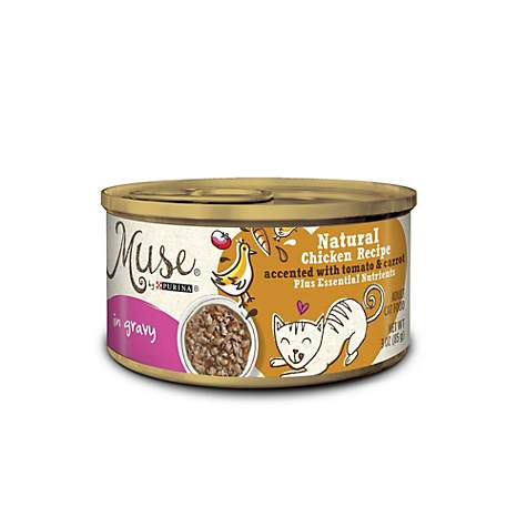 Muse by Purina Natural Chicken Recipe Accented With Tomato & Carrot In Gravy Cat Food
