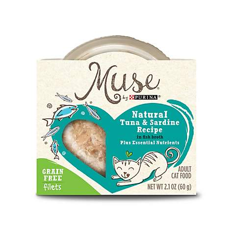 Muse by purina natural tuna sardines recipe in fish for Is tuna fish good for cats