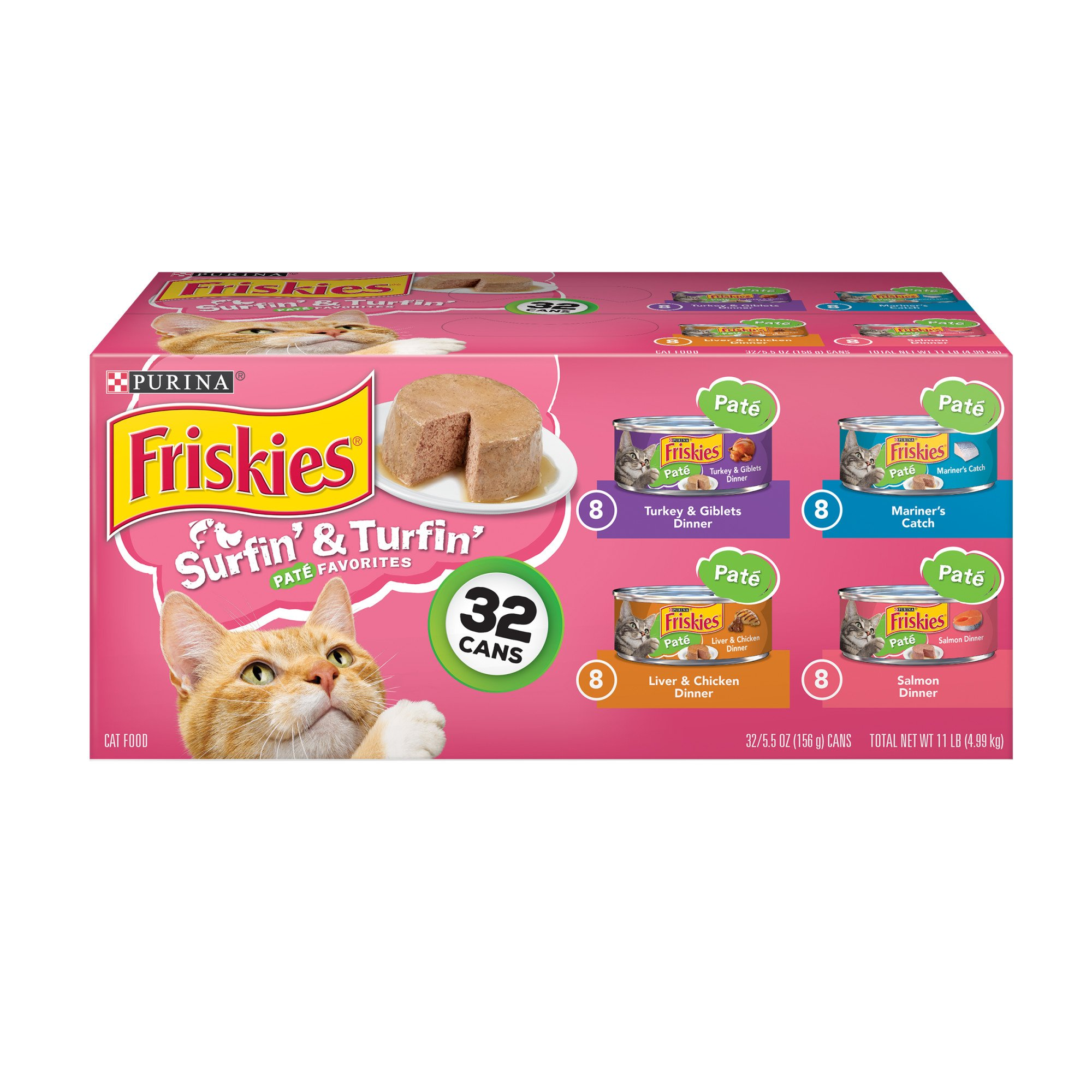 Purina Friskies Pate Surfin' & Turfin' Favorites Wet Cat Food Variety Pack, 5.5 oz., Count of 32