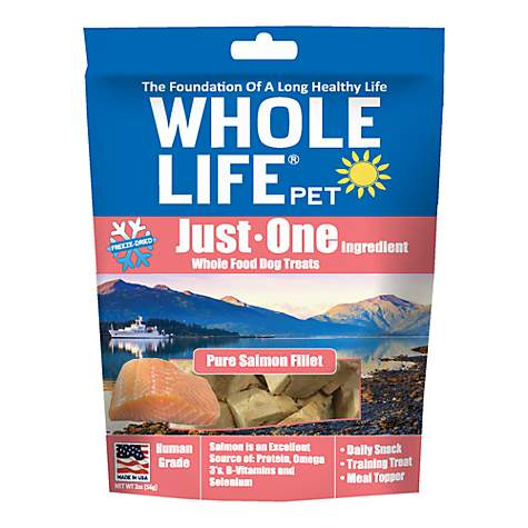 Whole Life Pet Single Ingredient USA Freeze Dried Salmon Treats for Dogs