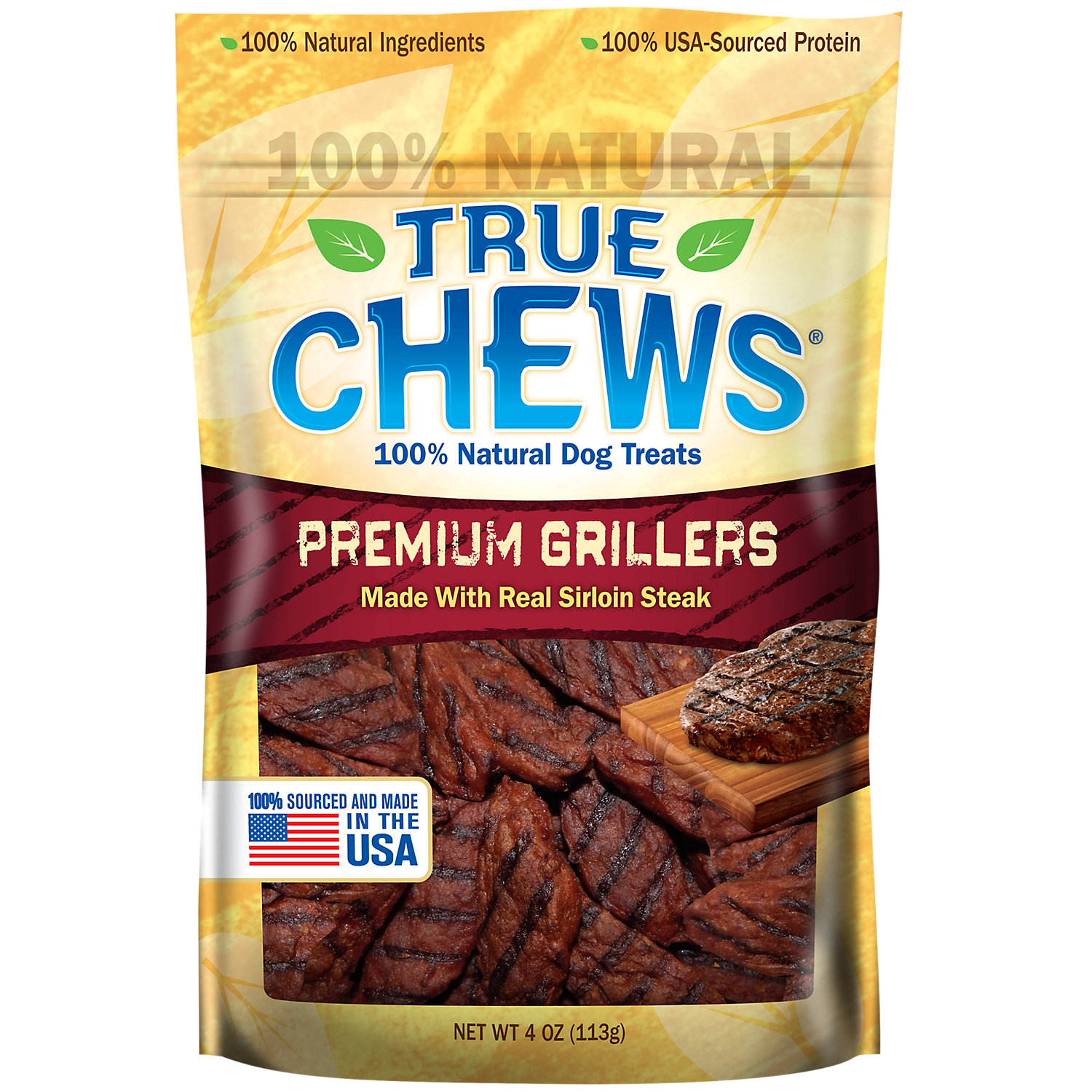 True Chews Premium Grillers Made With Real Steak Dog Treats 4 Oz.