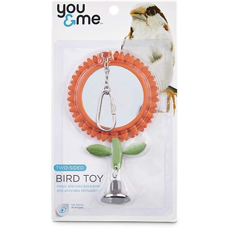 You & Me Two-Sided Flower Mirror Bird Toy
