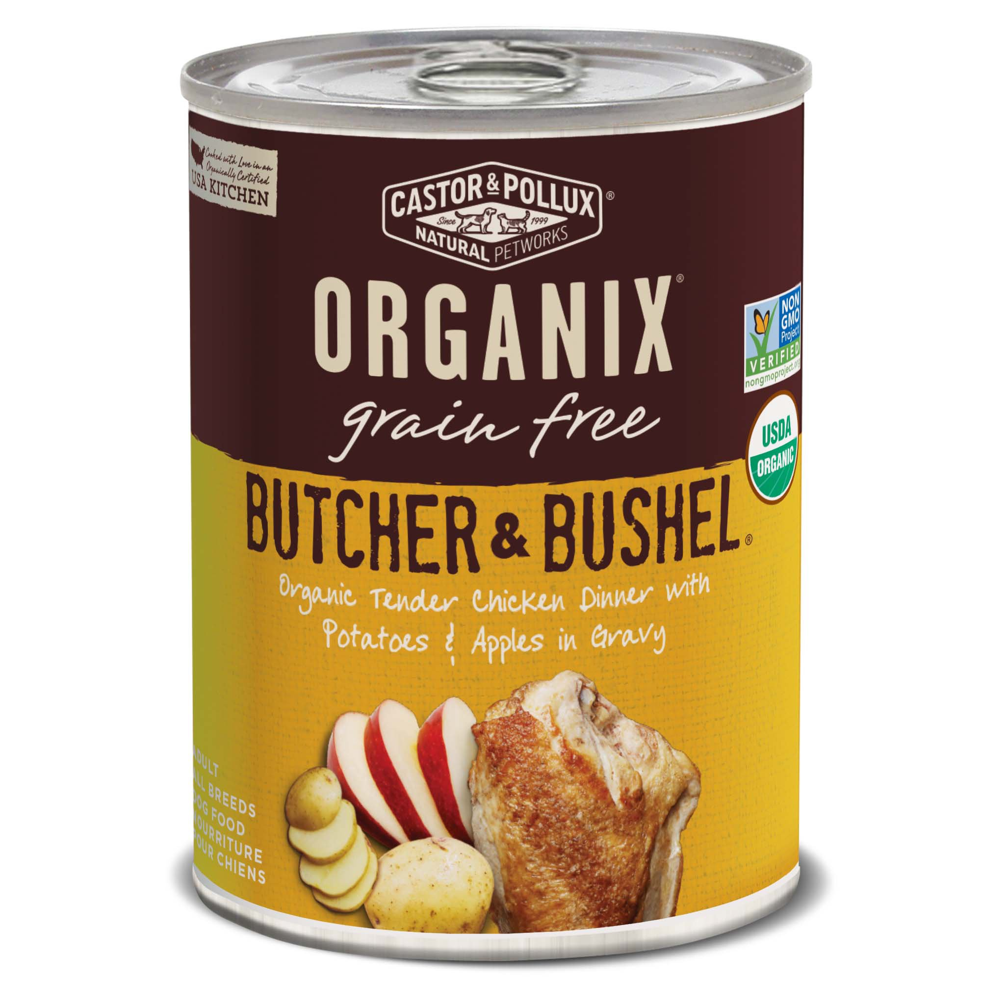 Image of Castor & Pollux Organix Butcher & Bushel Organic Tender Chicken Dinner with Potatoes & Apples Dog Food, 12.7 oz., Case of 12, 12 X 12.7 OZ
