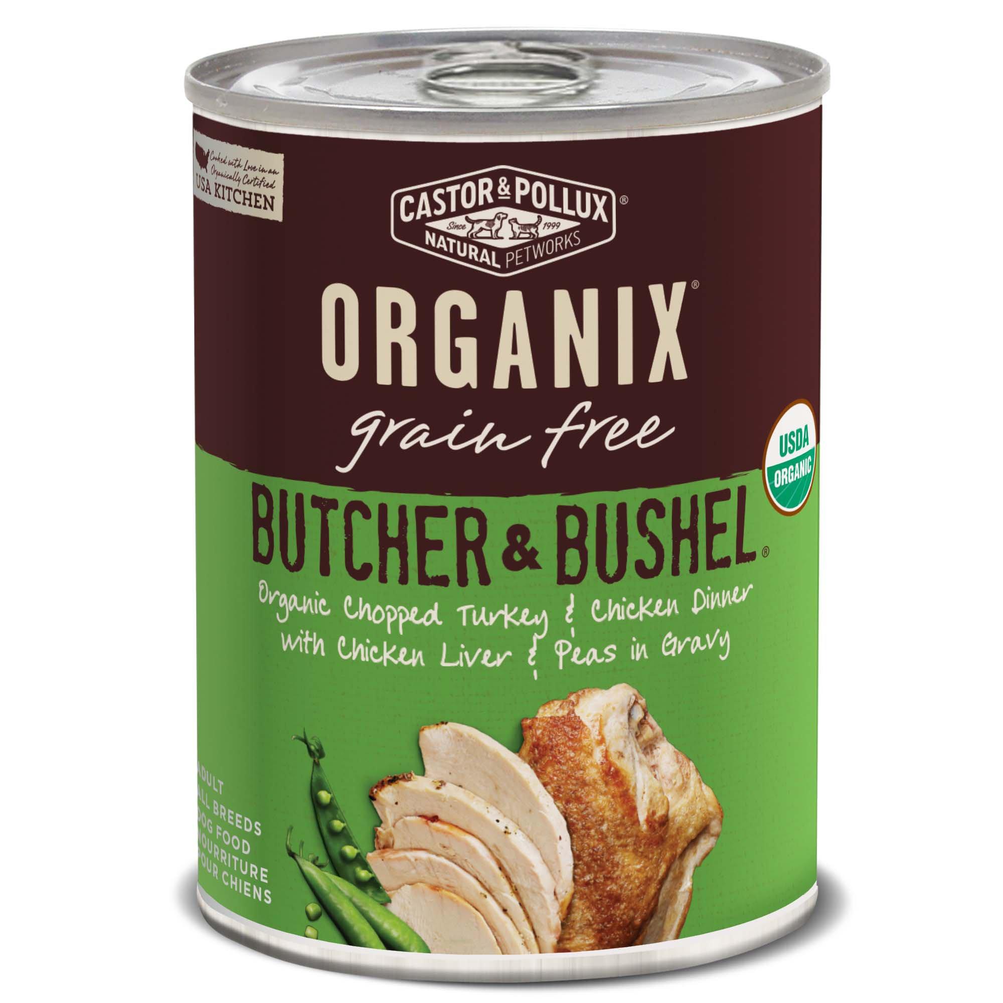Image of Castor & Pollux Organix Butcher & Bushel Grain Free Organic Chopped Turkey & Chicken Dinner Wet Dog Food, 12.7 oz., Case of 12, 12 X 12.7 OZ