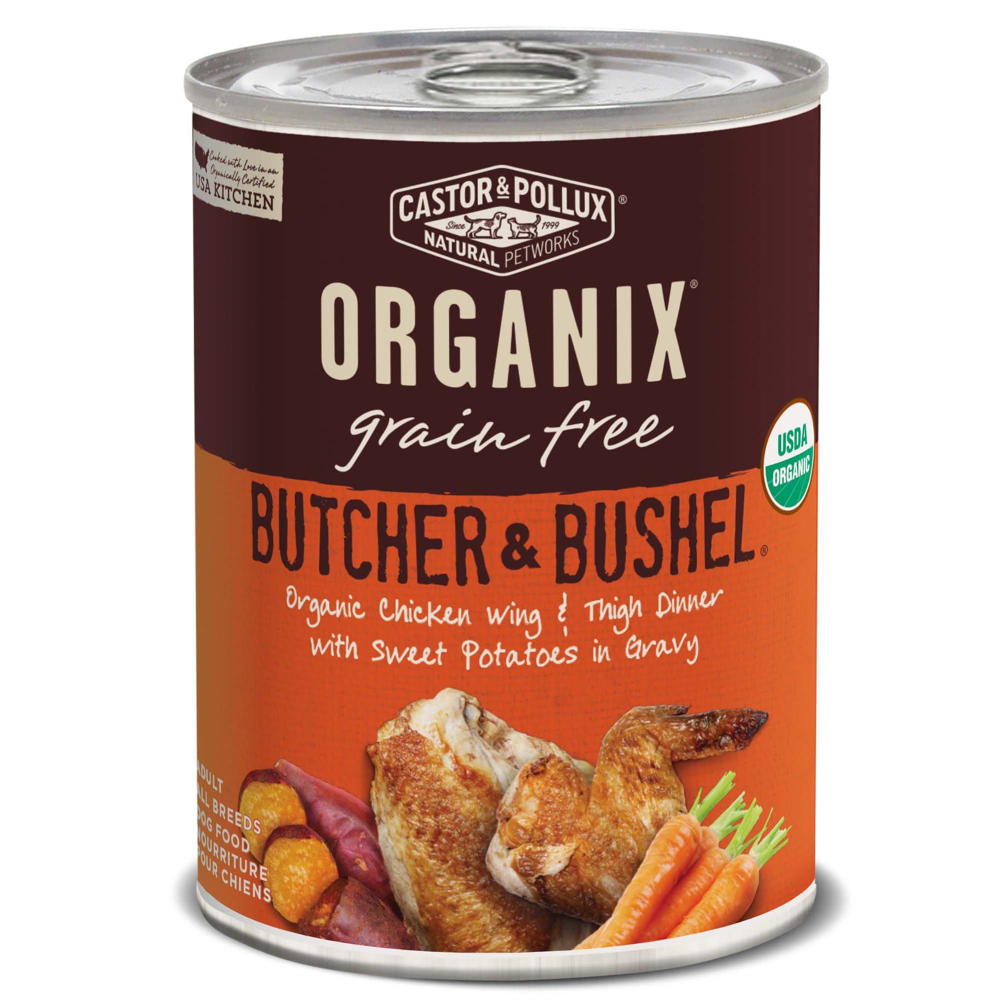 Image of Castor & Pollux Organix Butcher & Bushel Organic Chicken Wing & Thigh Dinner Wet Dog Food, 12.7 oz., Case of 12, 12 X 12.7 OZ