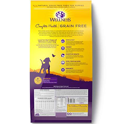 Wellness Complete Health Grain Free Puppy Deboned Chicken, Chicken Meal &  Salmon Meal Recipe Dry Dog Food, 24 lbs