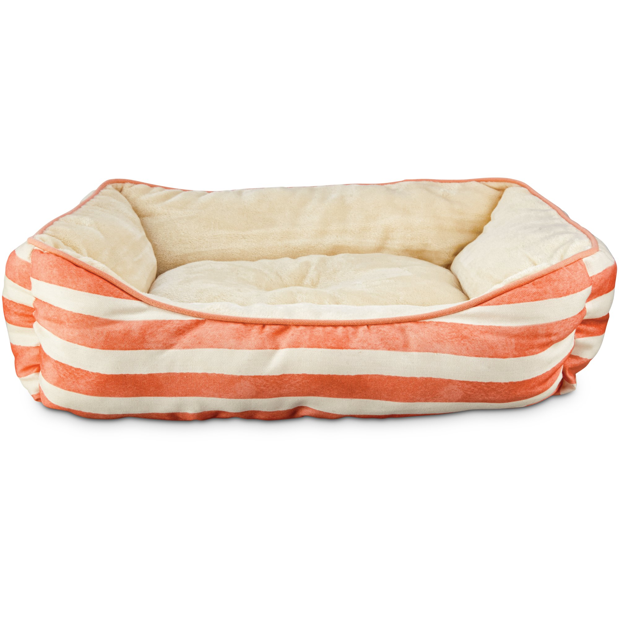 seaside summer coral stripe bolster dog bed | petco