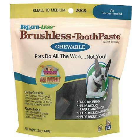 Ark Naturals Breath-Less Brushless Tooth Paste Chews for Small to Medium Dogs