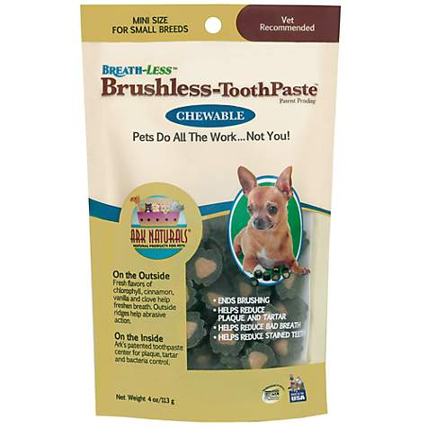 Ark Naturals Breath-Less Brushless Tooth Paste Chews for Mini Dogs