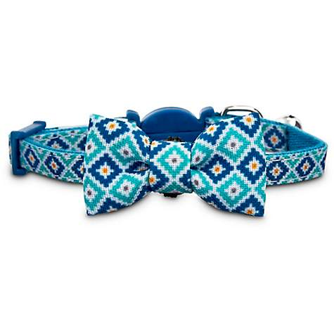 Bond & Co. Blue Diamond Print Bow Tie Kitten Collar