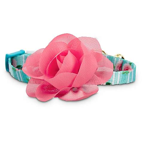 Bond & Co. Pink Rose Print Kitten Collar in Blue