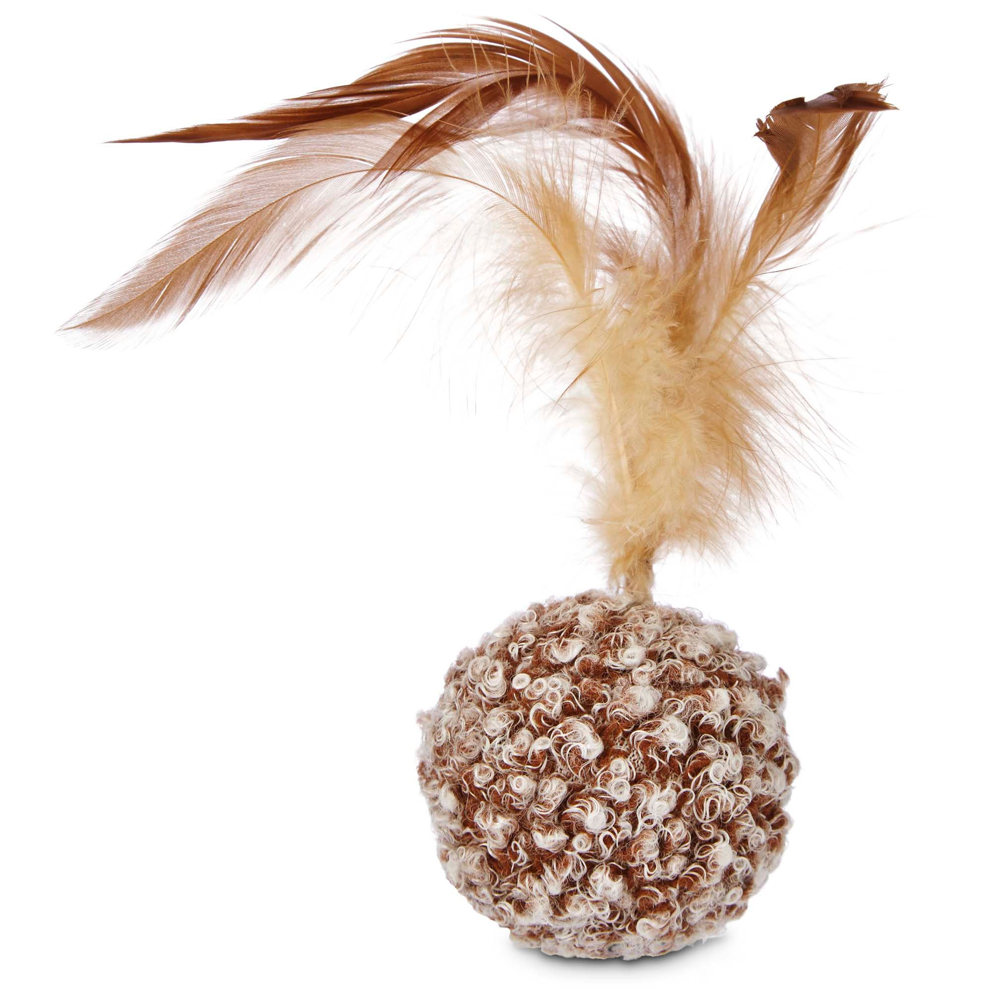 Image of Leaps & Bounds Ball with Feather Cat Toy, One Size Fits All, Brown