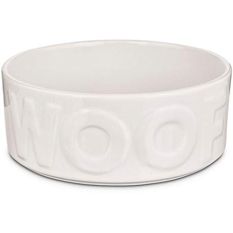 Harmony White WOOF Ceramic Dog Bowl