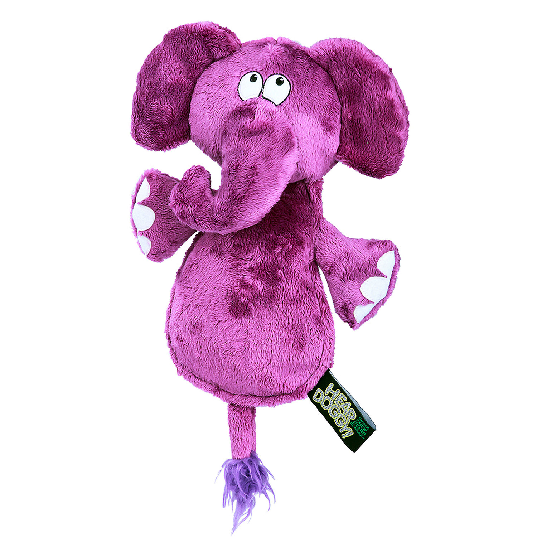 Heardoggy Flattie Elephant With Ultrasonic Silent Squeaker Purple