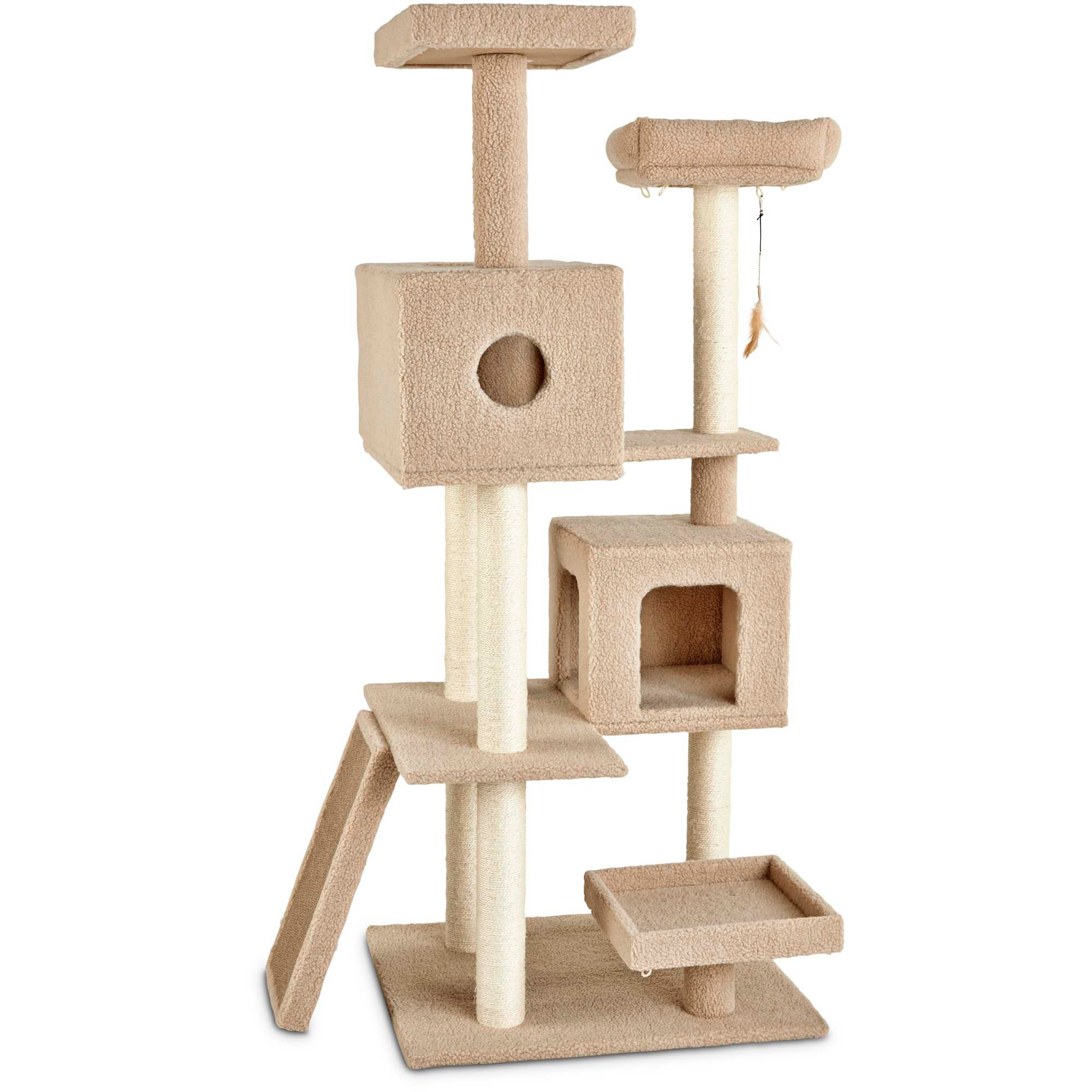 furniture premium tree cat armarkat scratching itm tiered posts wood inch upholstered scots pine floor
