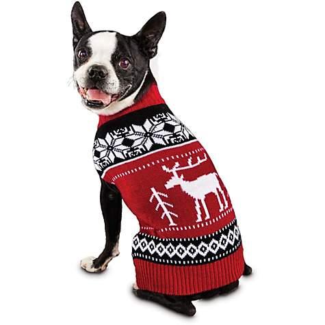 Time for Joy Moose Fair Isle Dog Sweater | Petco