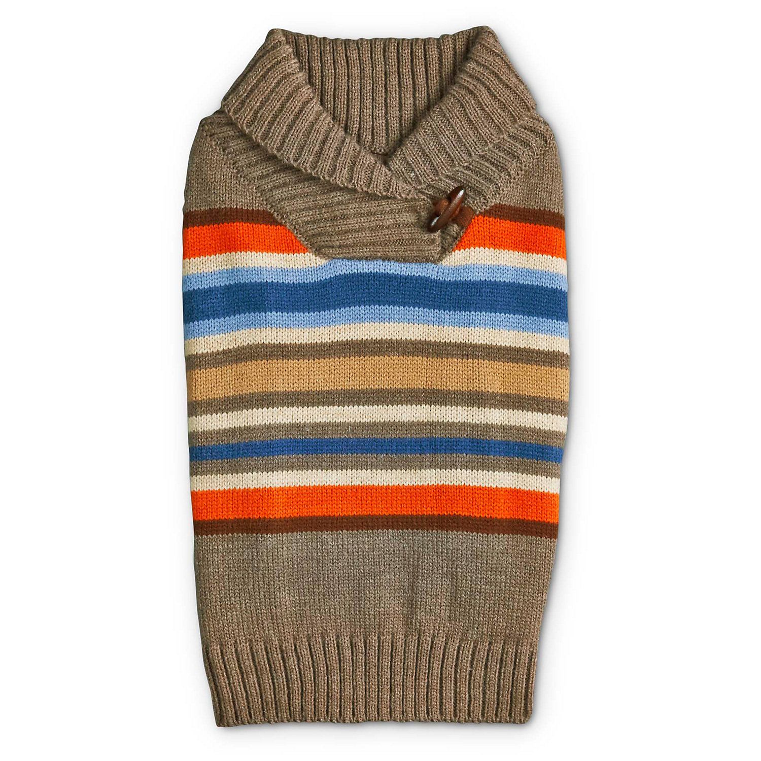 Bond & Co. Striped Shawl Collar Dog Sweater, 3x-large, Tan