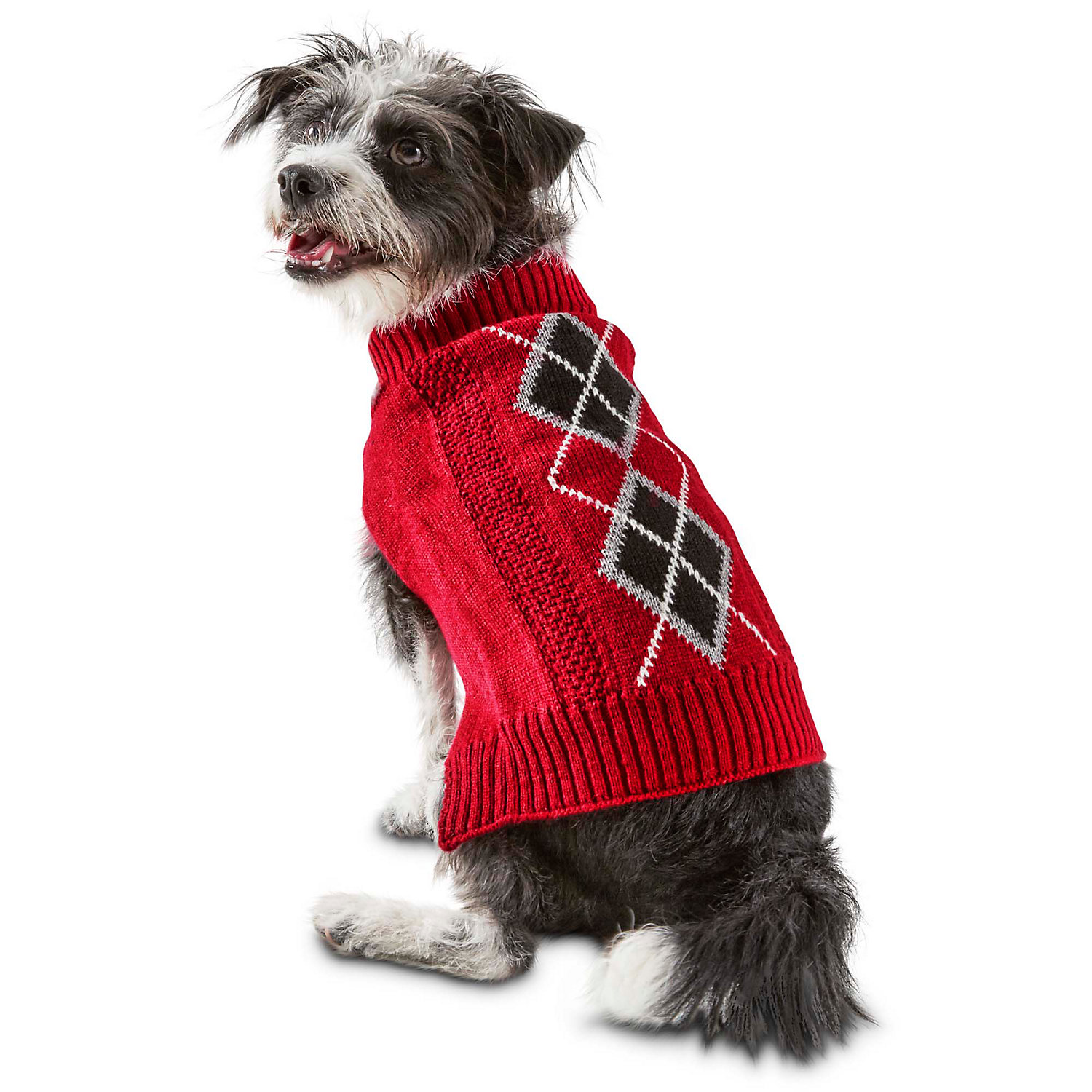 Bond & Co. Red Argyle Cable Knit Dog Sweater, Xx-small