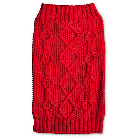 Bond & Co. Classic Red Cable Knit Dog Sweater | Petco