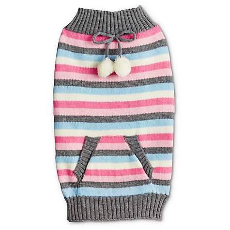 Bond & Co. Snow Bunny Stripe Dog Sweater with Pocket