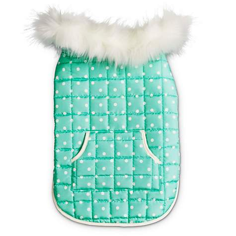 Bond & Co. Polka Dot Mint Dog Jacket with Pocket