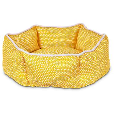 Harmony Yellow Dot Cuddler Dog Bed