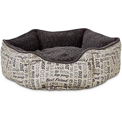 Harmony Woof Printed Poly Filled Cuddler Dog Bed