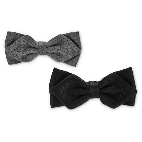 Modern Luxe Black and Charcoal Dog Bowtie Set