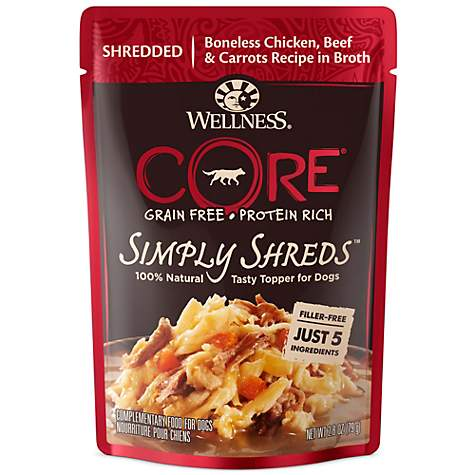 Wellness CORE Simply Shreds Natural Grain Free Chicken, Beef & Carrots Wet Dog Food Topper