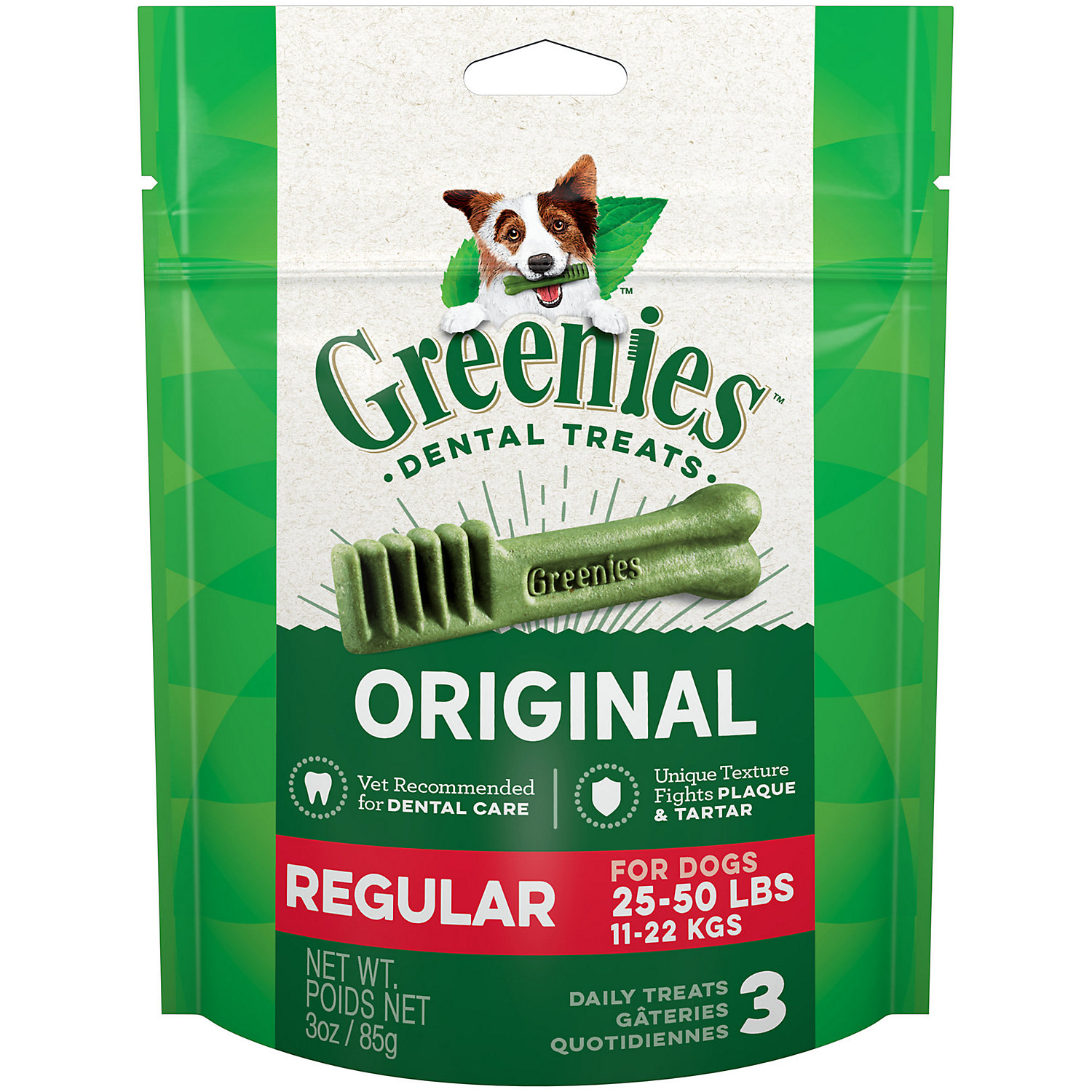 Greenies Original Regular Size Dog Dental Chews, 3 Oz., 3-count