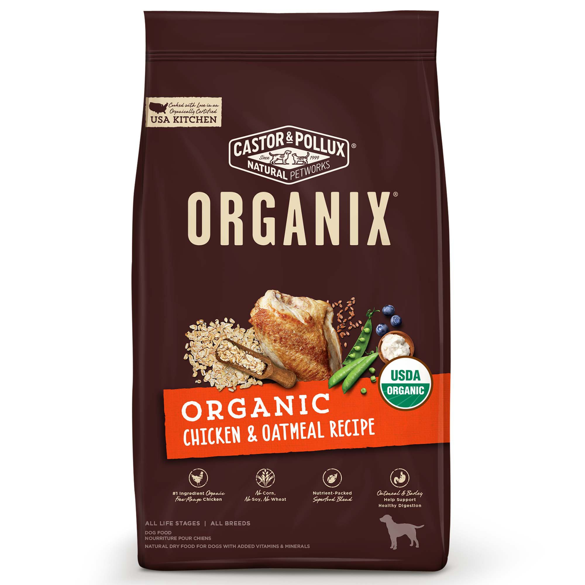 Image of Castor & Pollux Organix Organic Chicken & Oatmeal Recipe Dry Dog Food, 10 lbs.