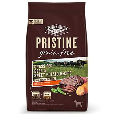 Castor & Pollux Pristine Grain Free Grass-Fed Beef and Sweet Potato Recipe with Raw Bites Dry Dog Food