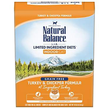 Natural Balance L.I.D. Limited Ingredient Diets for Indoor Cats, Turkey & Chickpea Dry Cat Food