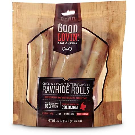 Good Lovin' Chicken and Peanut Butter Flavored Rawhide Roll Dog Chews