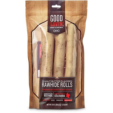 Good Lovin' Peanut Butter Flavored Rawhide Roll Dog Chews