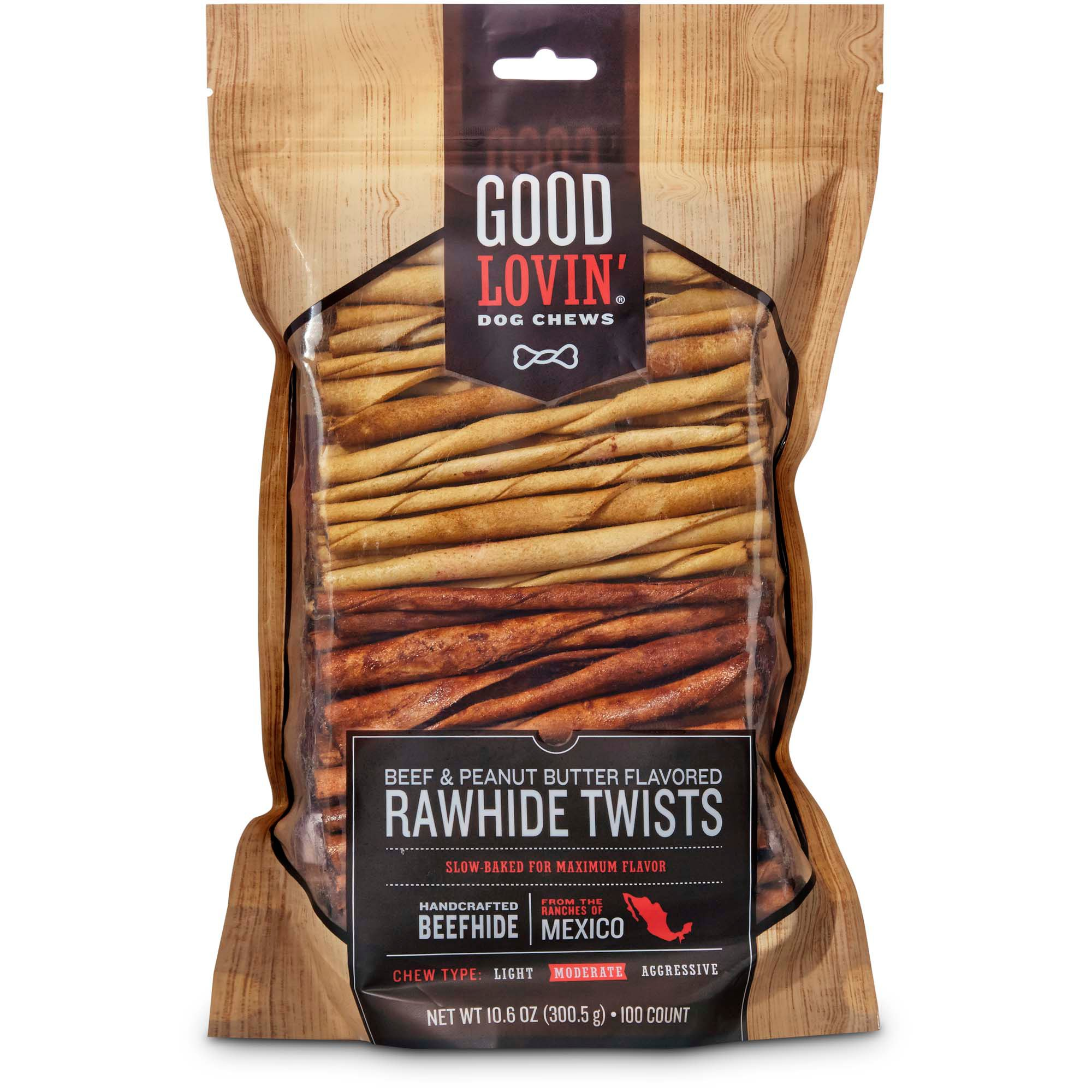 Good Lovin Beef And Peanut Butter Flavored Rawhide Twist