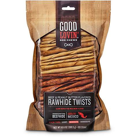 Good Lovin' Beef and Peanut Butter Flavored Rawhide Twist Dog Chews