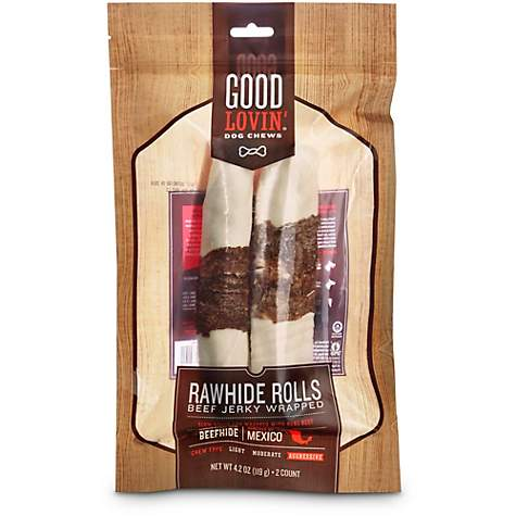 Good Lovin' Beef Jerky Wrapped Rawhide Roll Dog Chews