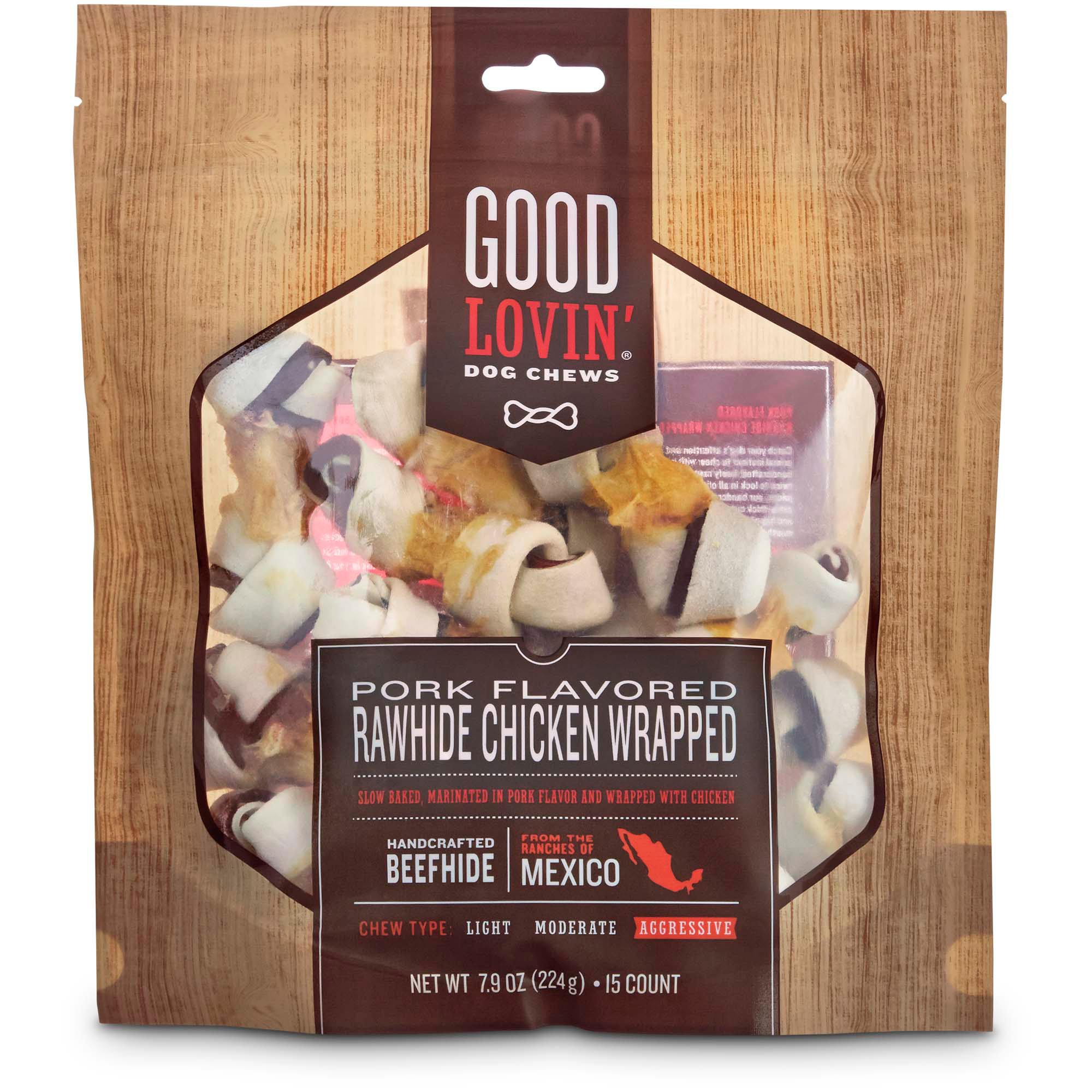 Good Lovin' Pork Flavored and Chicken Wrapped Rawhide Dog Chew, Pack of 3