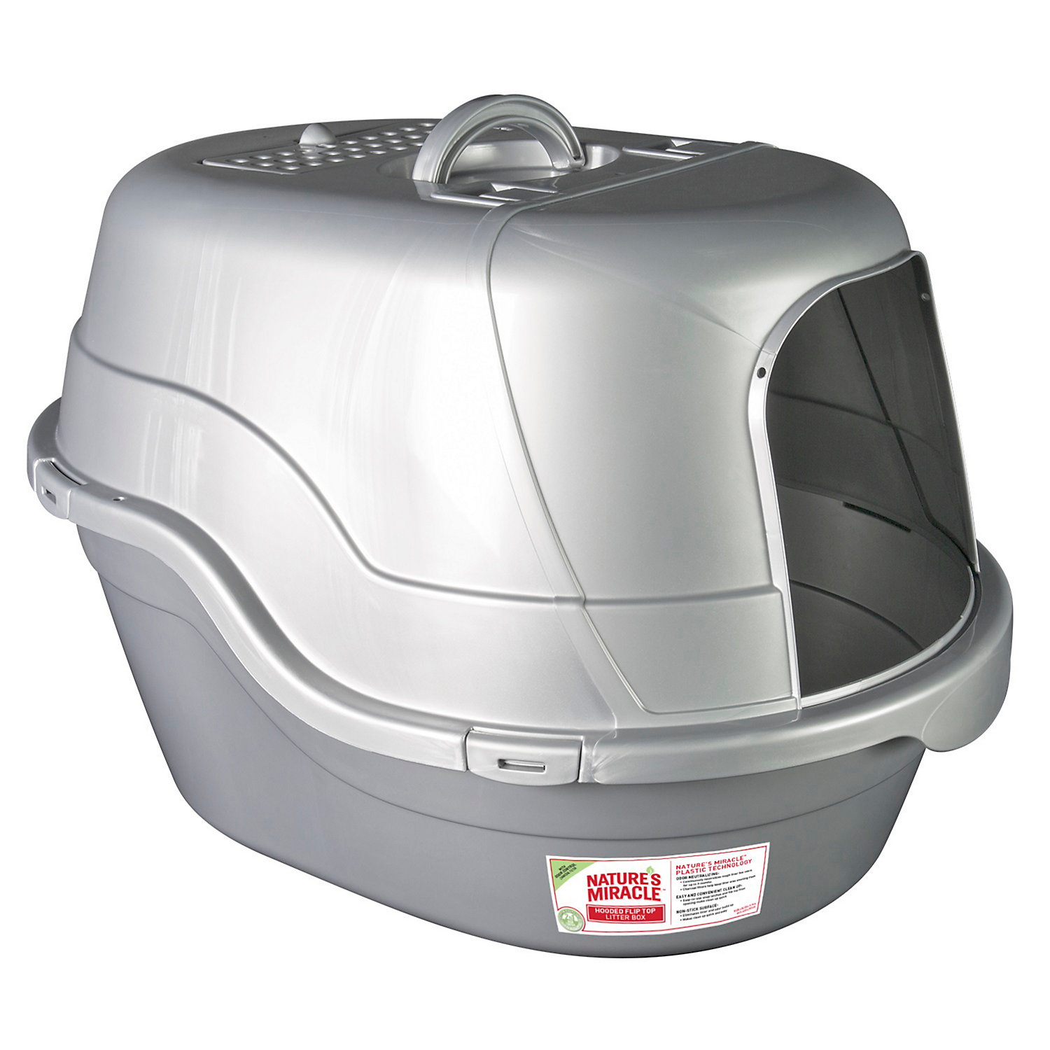 Natures Miracle Hooded Litter Box Oval, Silver & White, 17 L X 19 W X 25 H, Blue