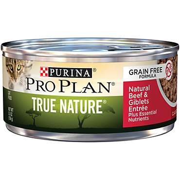 Purina Pro Plan True Nature Adult Grain Free Formula Natural Beef & Giblets Entree Classic Wet Cat Food