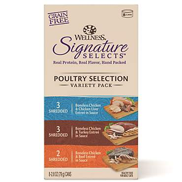 Wellness CORE Signature Selects Natural Canned Grain Free Cat Food Variety Pack, Poultry Selection Eight