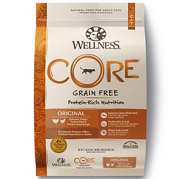 Wellness CORE Natural Grain Free Original Turkey, Turkey Meal, and Chicken Meal Dry Cat Food